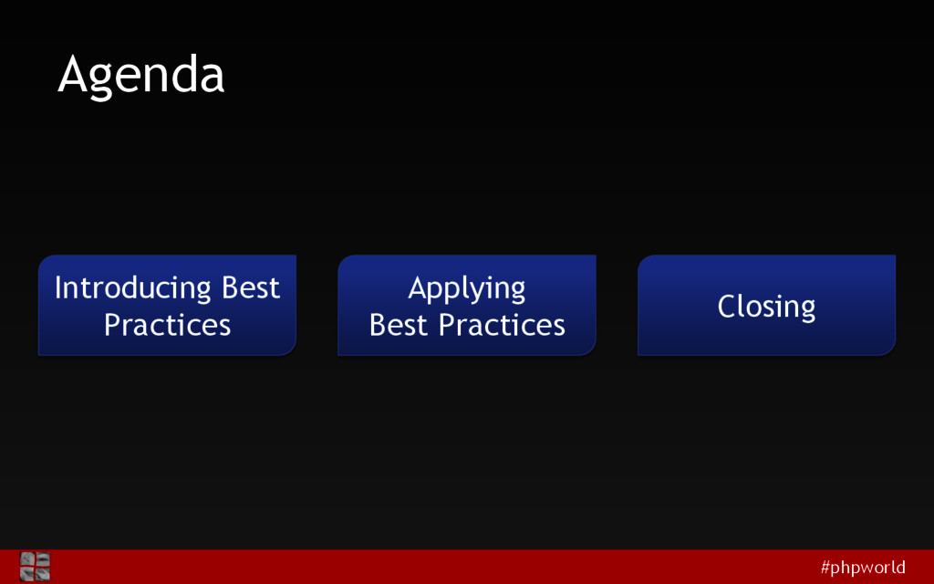 #phpworld Agenda Introducing Best Practices App...