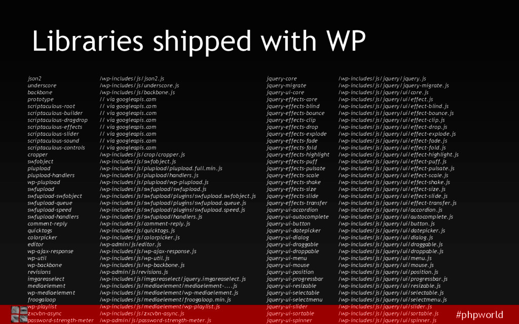 #phpworld Libraries shipped with WP json2 /wp-i...