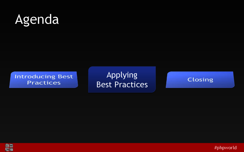 #phpworld Agenda Applying Best Practices