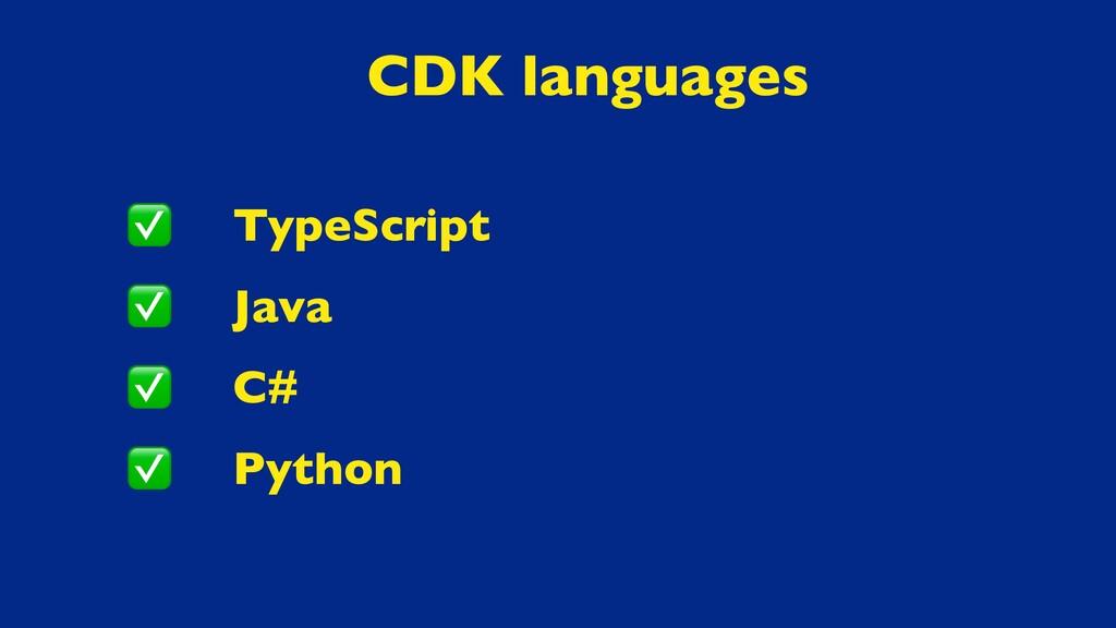 TypeScript Java C# Python CDK languages