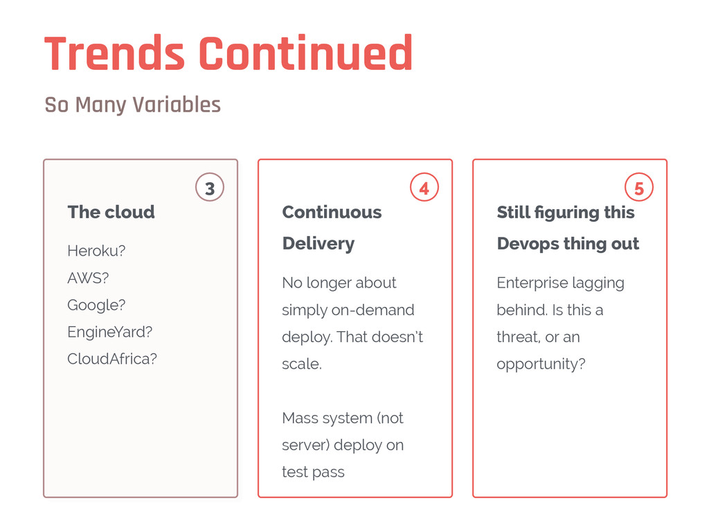 Trends Continued So Many Variables Heroku? AWS?...