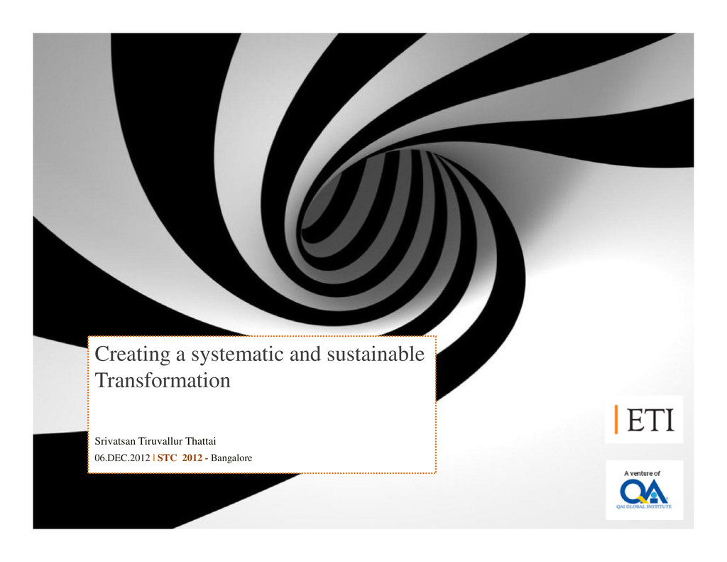 Creating a systematic and sustainable Transform...