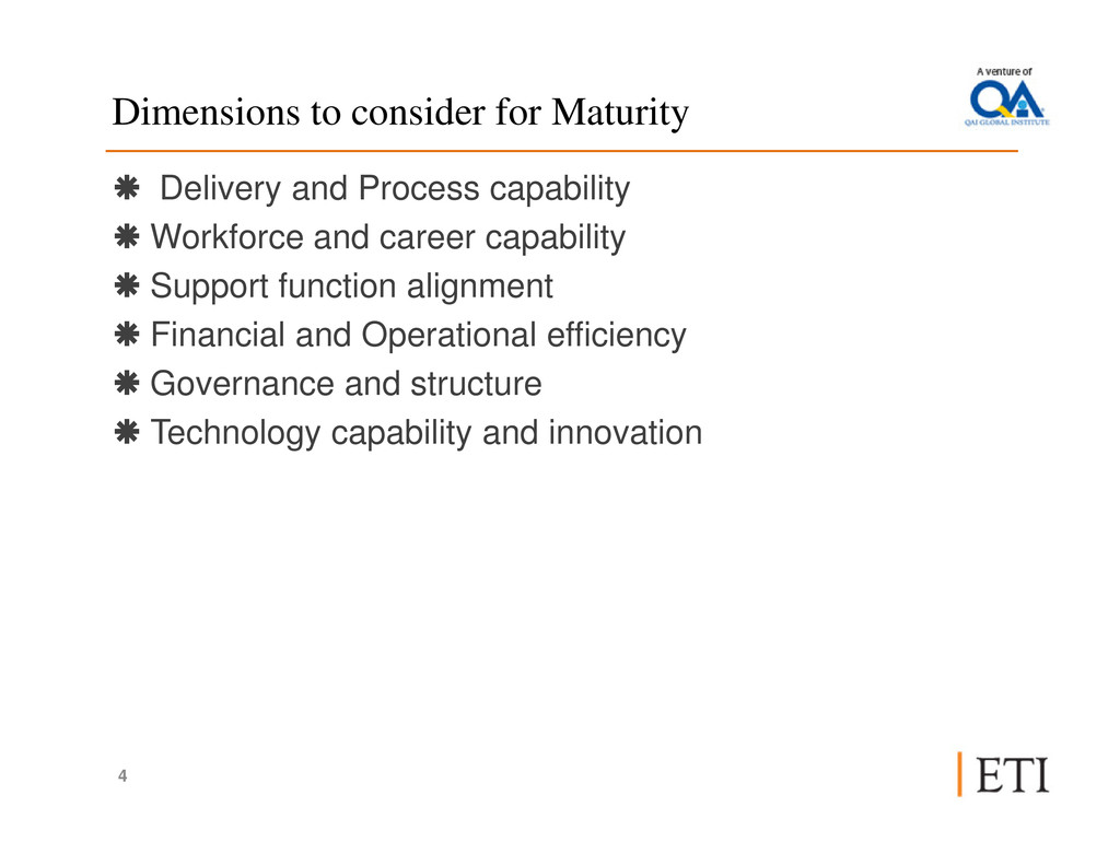 Dimensions to consider for Maturity Delivery an...