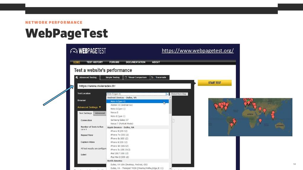 NETWORK PERFORMANCE 14 WebPageTest https://www....