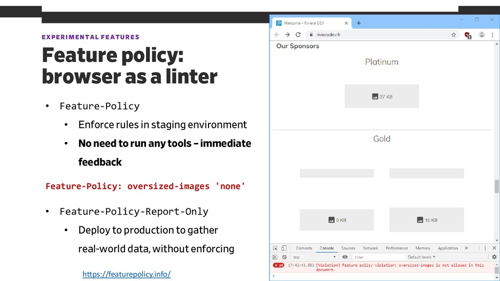 EXPERIMENTAL FEATURES 58 Feature policy: browse...