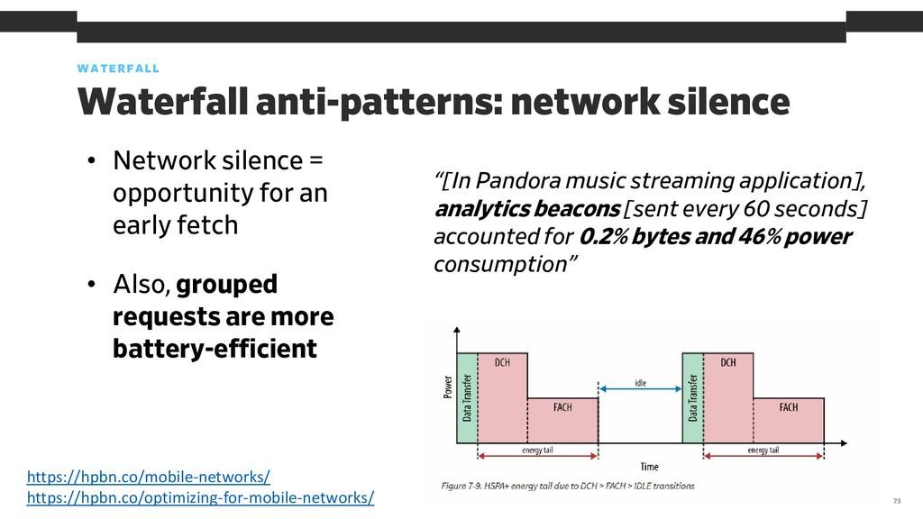 WATERFALL 73 Waterfall anti-patterns: network s...