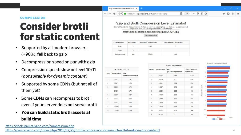 COMPRESSION 83 Consider brotli for static conte...