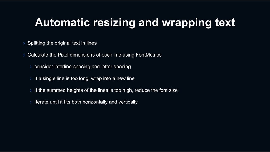 Automatic resizing and wrapping text › Splittin...