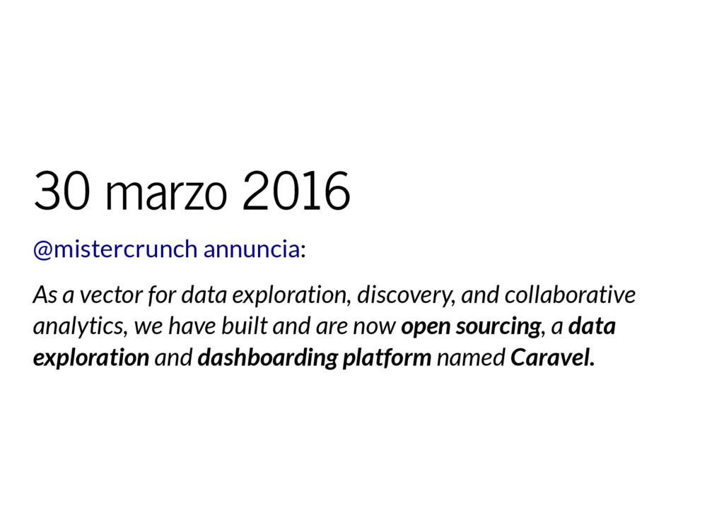 30 marzo 2016 : @mistercrunch annuncia As a vec...