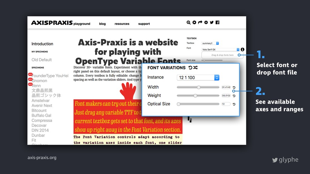 glyphe axis-praxis.org 1. Select font or drop f...
