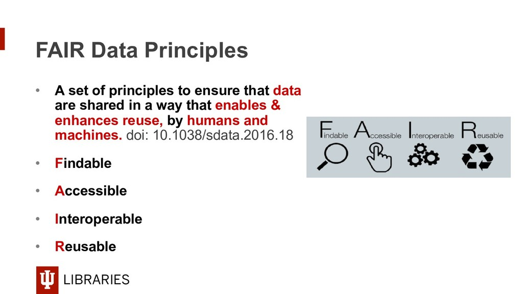 LIBRARIES FAIR Data Principles • A set of prin...