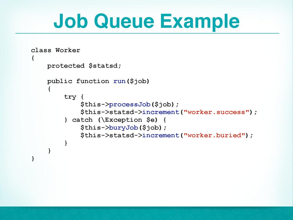Job Queue Example 46 class Worker { protected $...