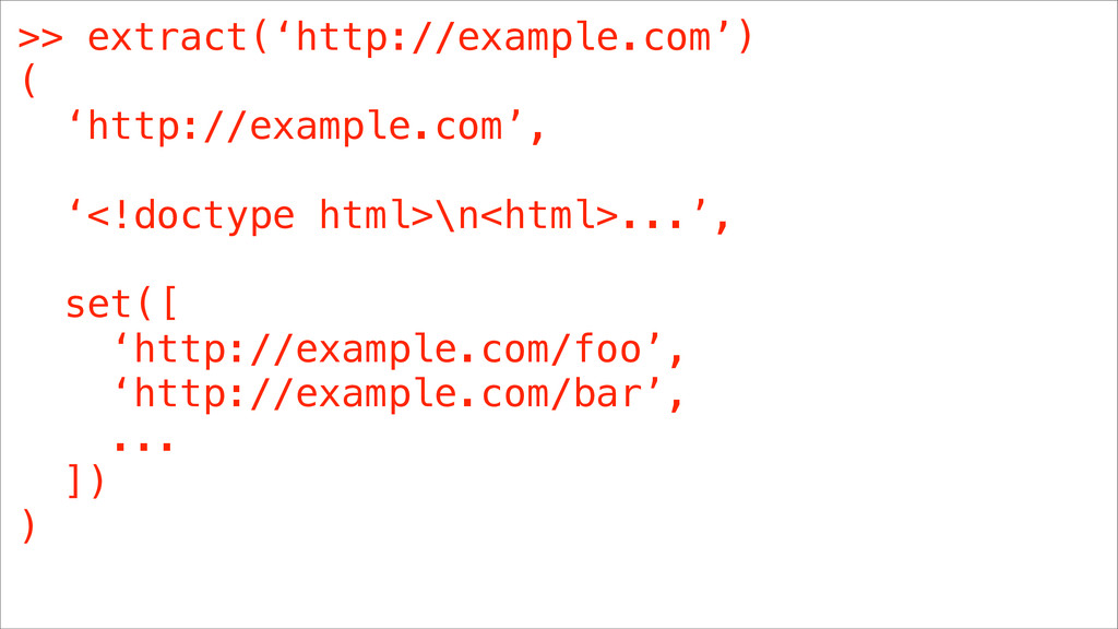 >> extract('http://example.com') ( 'http://exam...