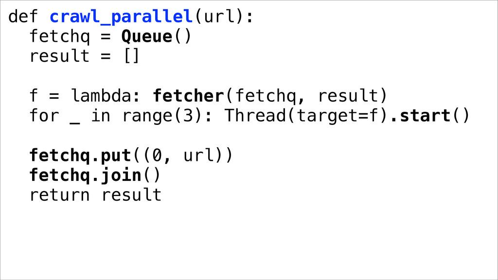 def crawl_parallel(url): fetchq = Queue() resul...