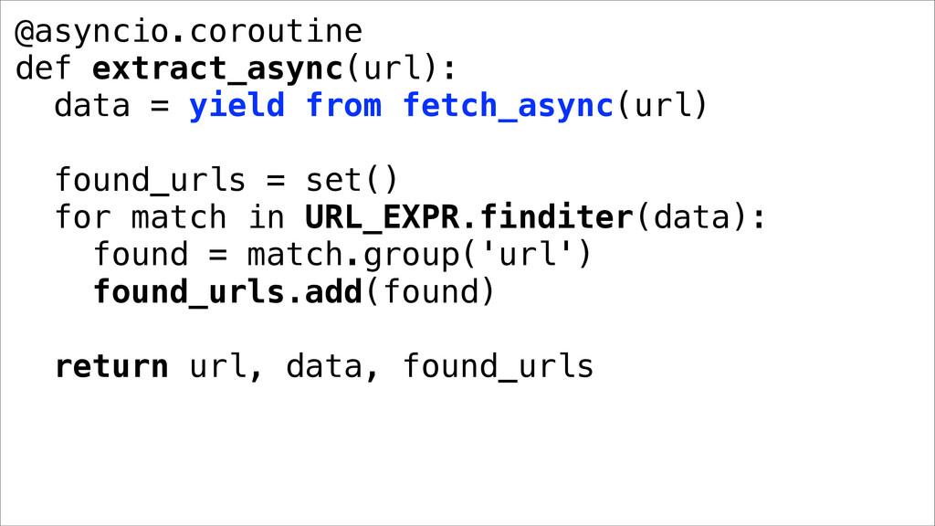 @asyncio.coroutine def extract_async(url): data...