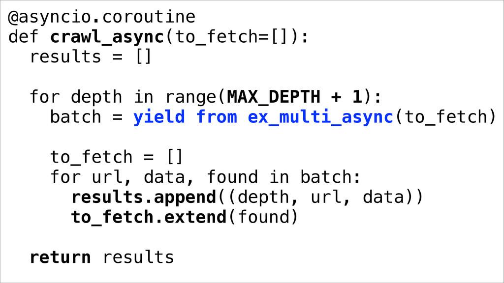 @asyncio.coroutine def crawl_async(to_fetch=[])...