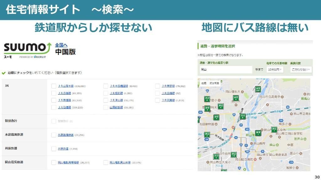 30 住宅情報サイト ~検索~ 鉄道駅からしか探せない 地図にバス路線は無い
