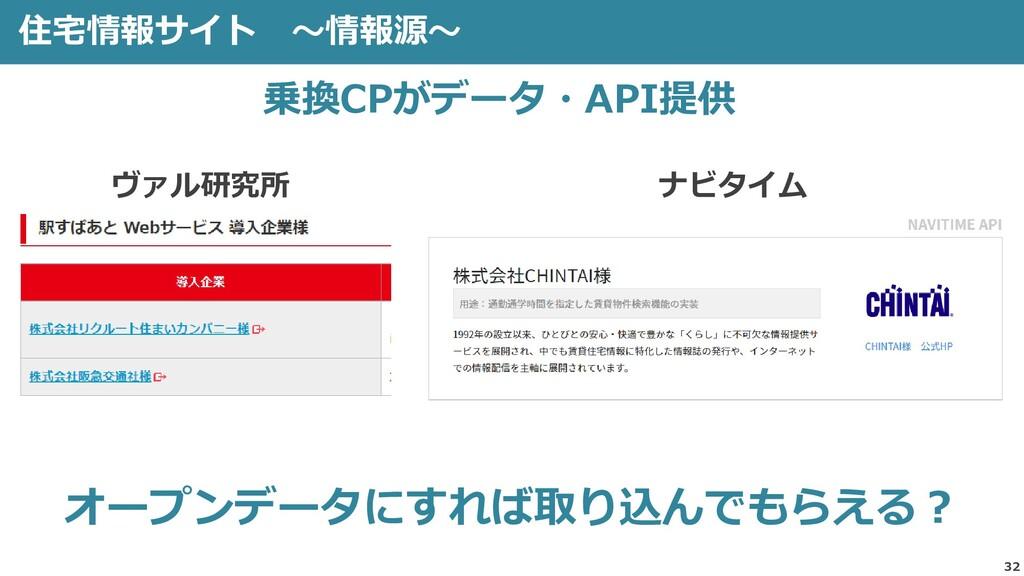 住宅情報サイト ~情報源~ 32 オープンデータにすれば取り込んでもらえる? 乗換CPがデータ...