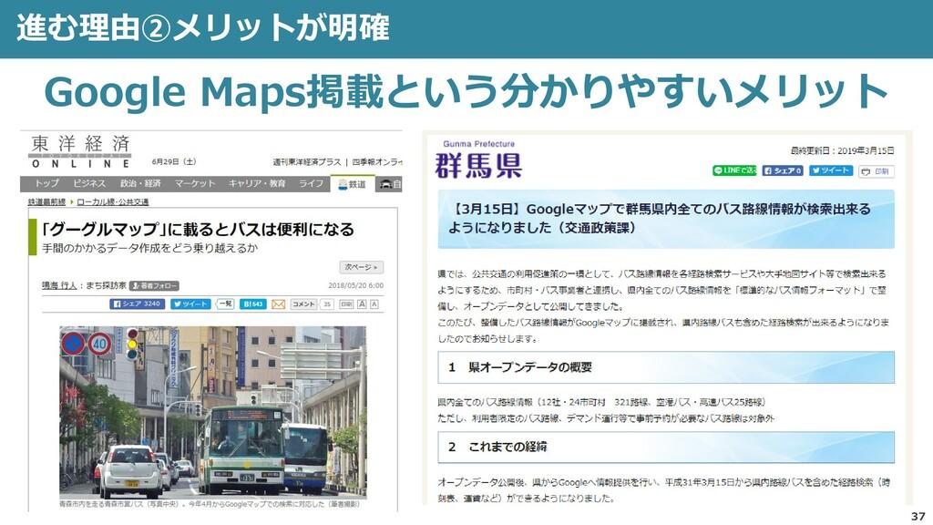 進む理由②メリットが明確 37 Google Maps掲載という分かりやすいメリット