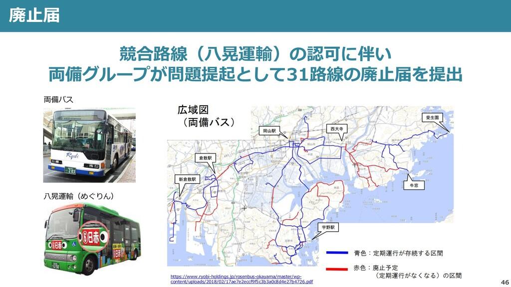 46 廃止届 競合路線(八晃運輸)の認可に伴い 両備グループが問題提起として31路線の廃止届を...