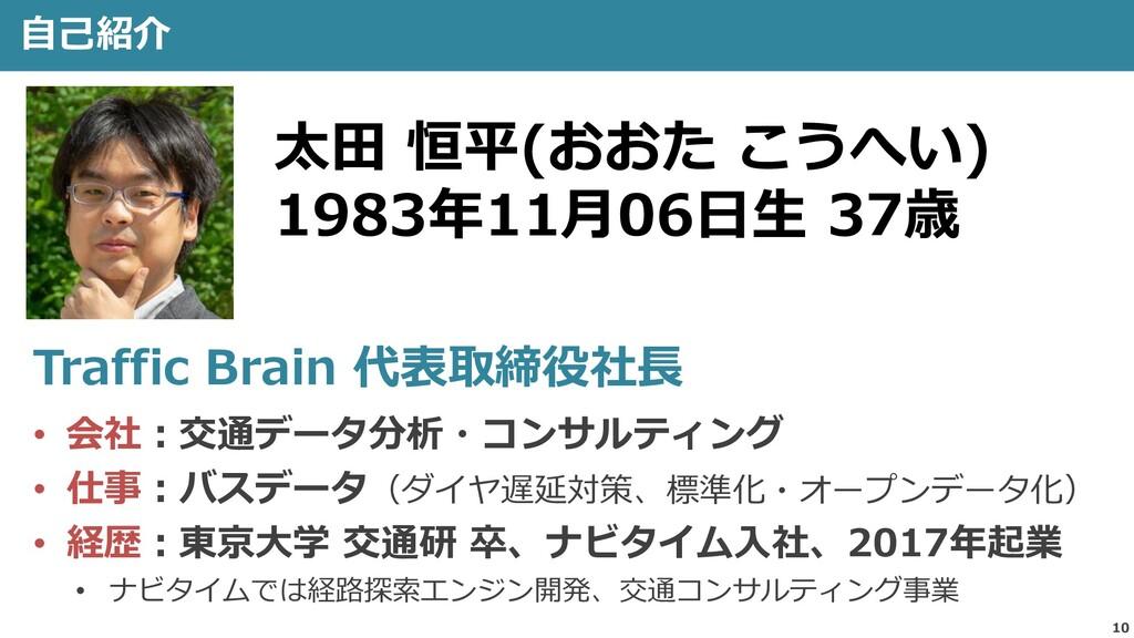 10 自己紹介 太田 恒平(おおた こうへい) 1983年11月06日生 37歳 Traffi...