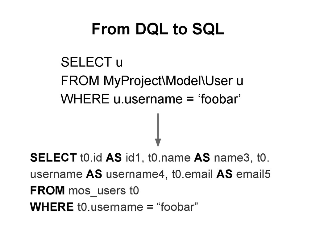From DQL to SQL SELECT t0.id AS id1, t0.name AS...