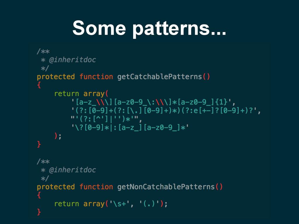 Some patterns...
