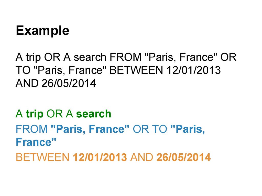 """Example A trip OR A search FROM """"Paris, France""""..."""