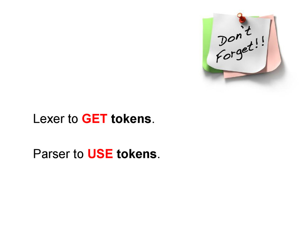 Lexer to GET tokens. Parser to USE tokens.
