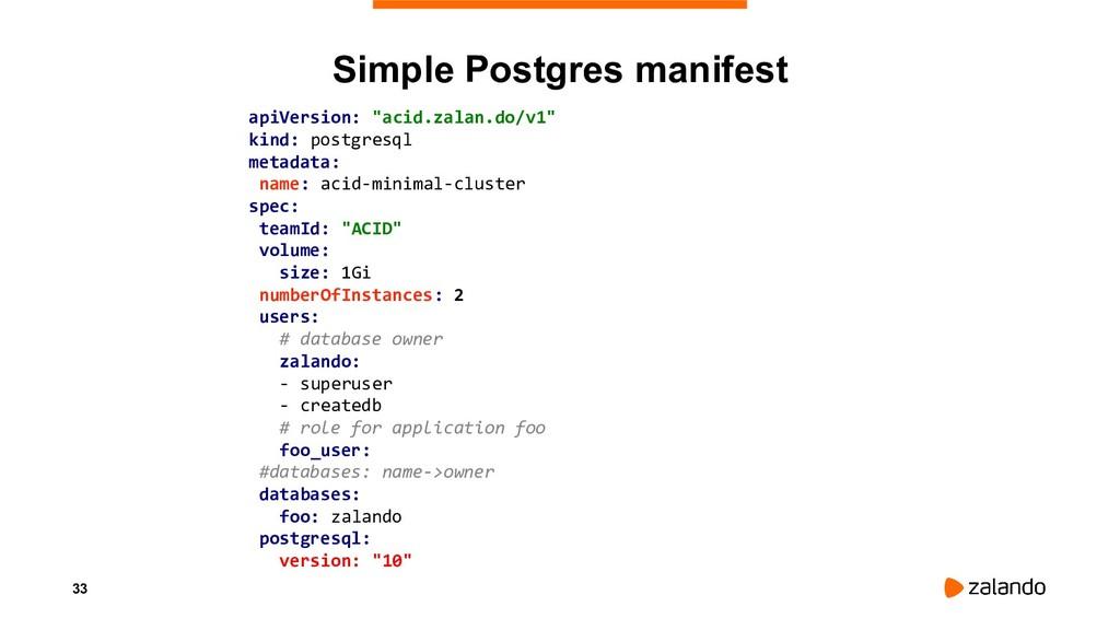"33 Simple Postgres manifest apiVersion: ""acid.z..."