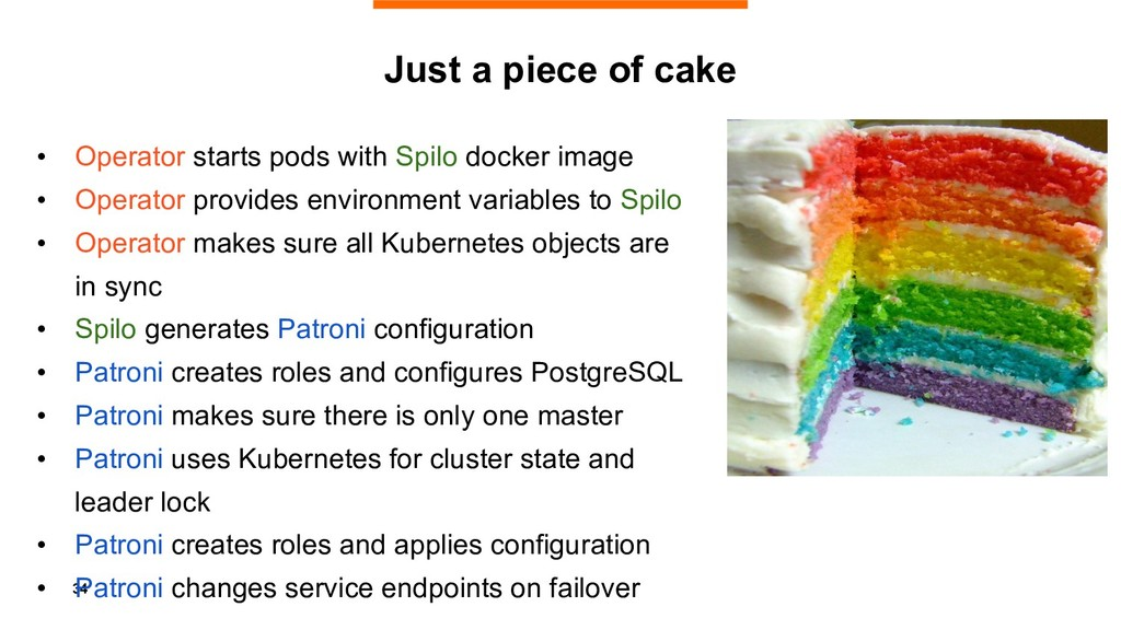34 Just a piece of cake • Operator starts pods ...