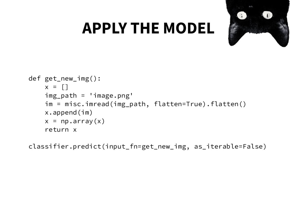 APPLY THE MODEL def get_new_img(): x = [] img_p...