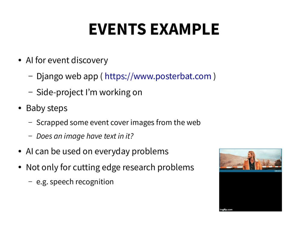EVENTS EXAMPLE ● AI for event discovery – Djang...