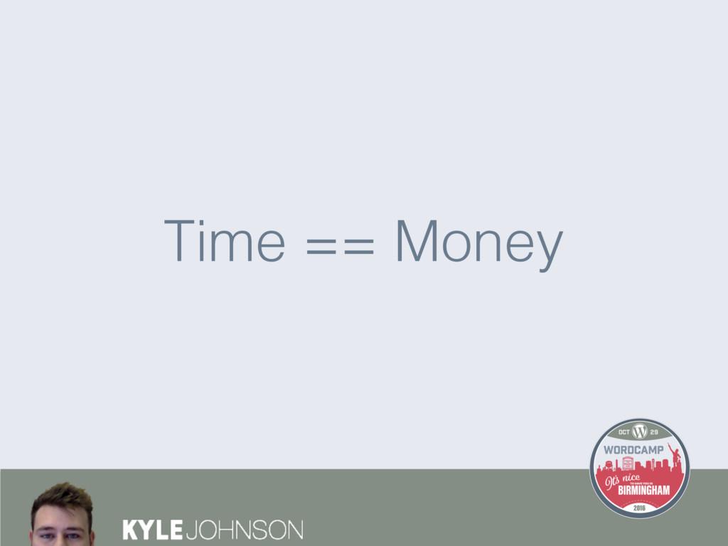 Time == Money