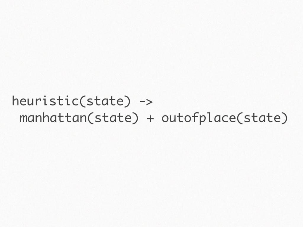 heuristic(state) -> manhattan(state) + outofpla...