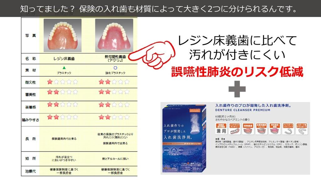 知ってました? 保険の入れ歯も材質によって大きく2つに分けられるんです。 レジン床義歯に比べて...