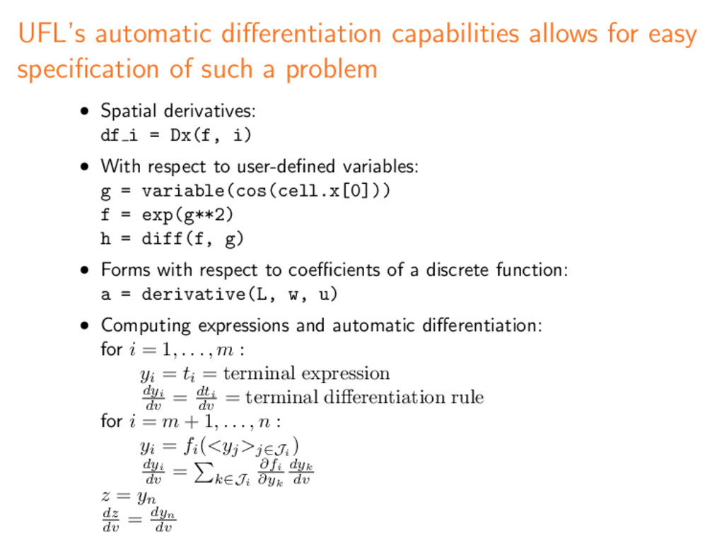 UFL's automatic differentiation capabilities all...