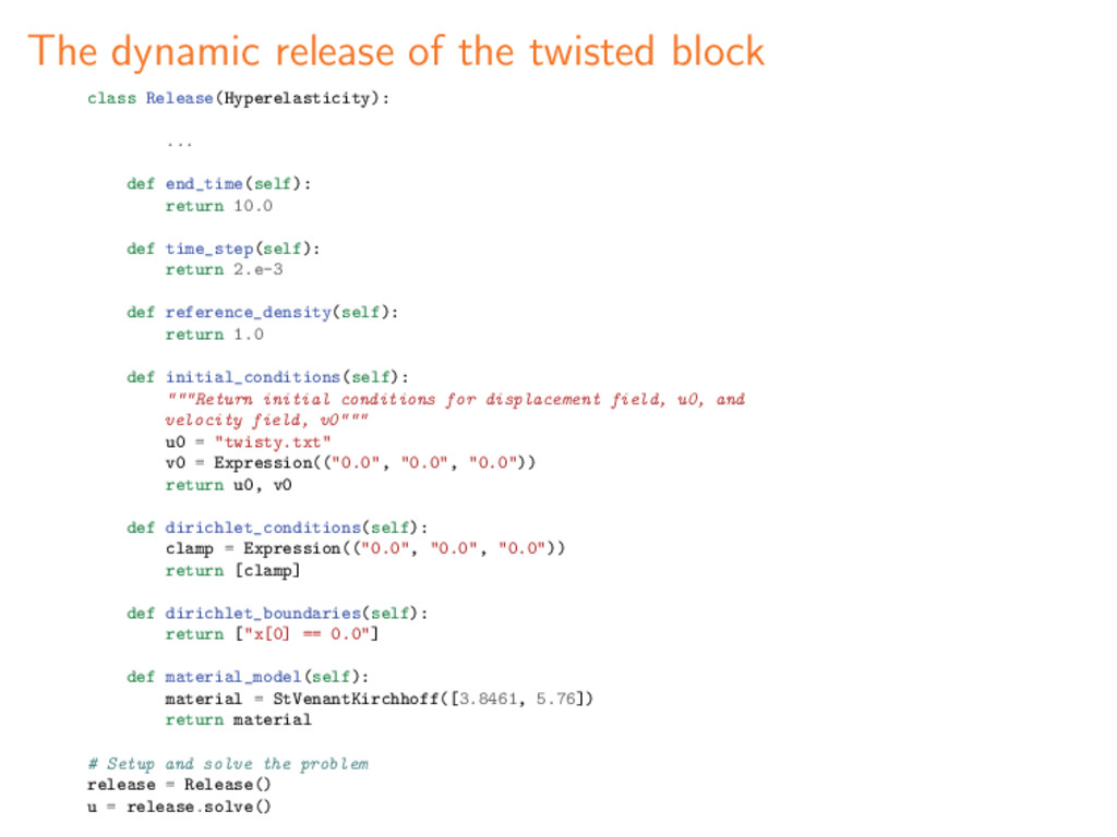 The dynamic release of the twisted block class ...
