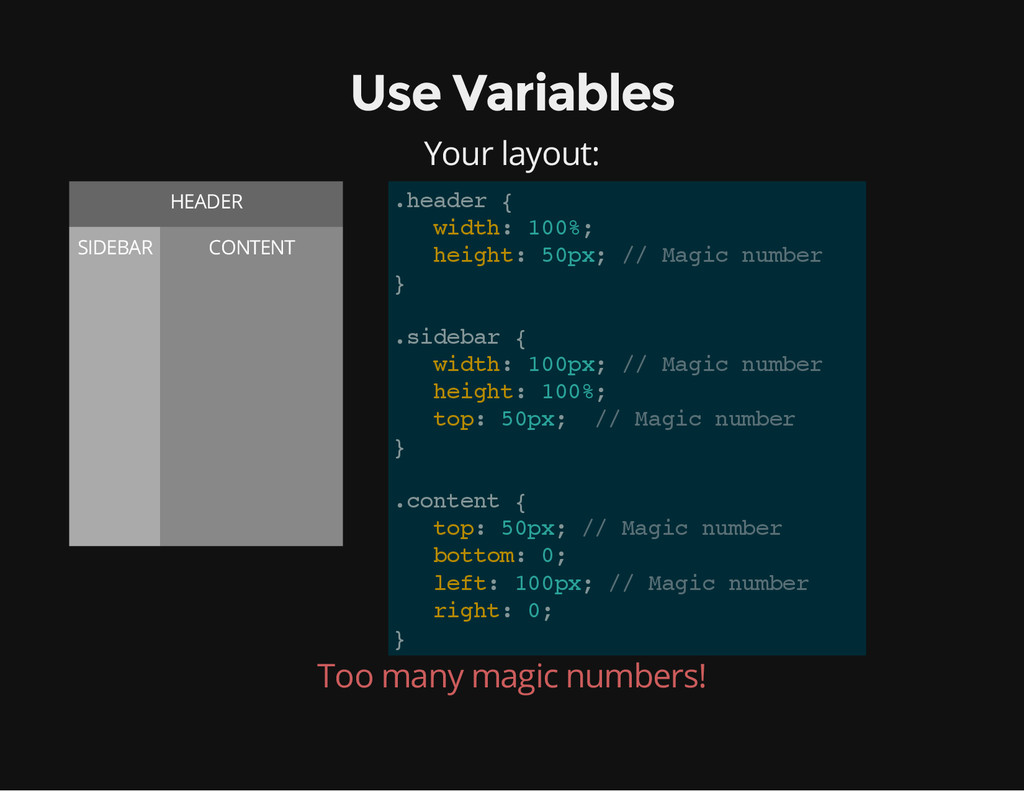 Use Variables Your layout: HEADER SIDEBAR CONTE...