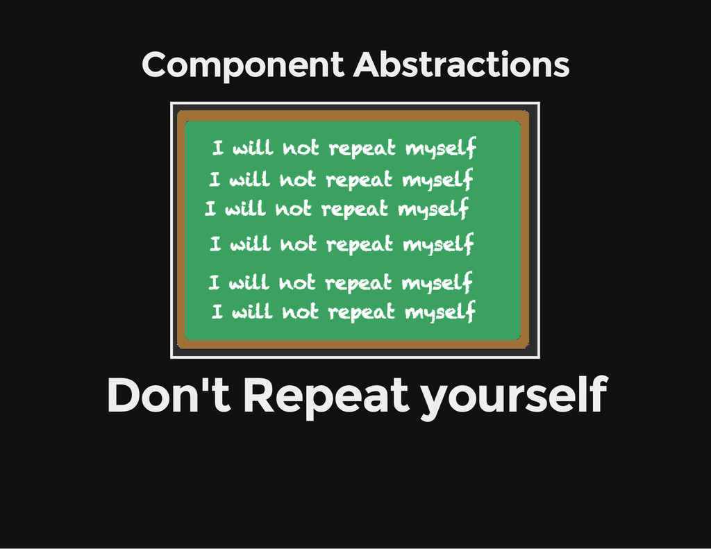 Component Abstractions Don't Repeat yourself