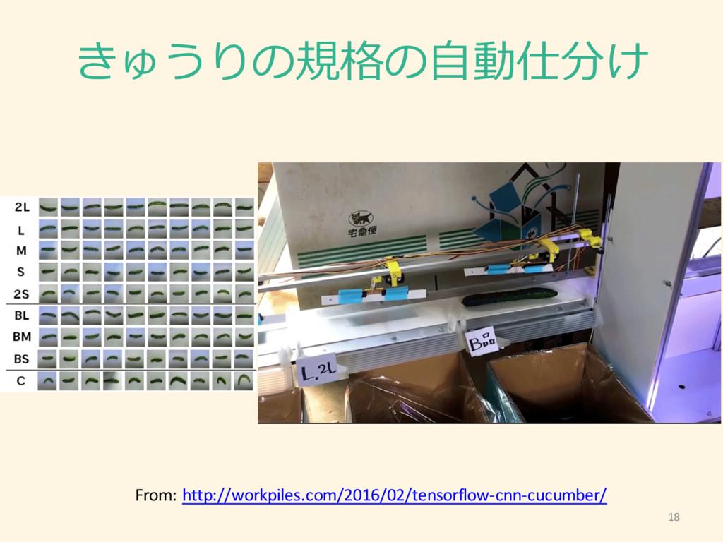 18 きゅうりの規格の⾃自動仕分け From: http://workpiles.com...