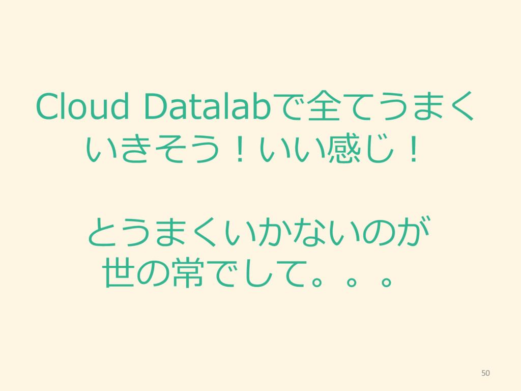 Cloud Datalabで全てうまく いきそう!いい感じ! とうまくいかないのが 世の常で...