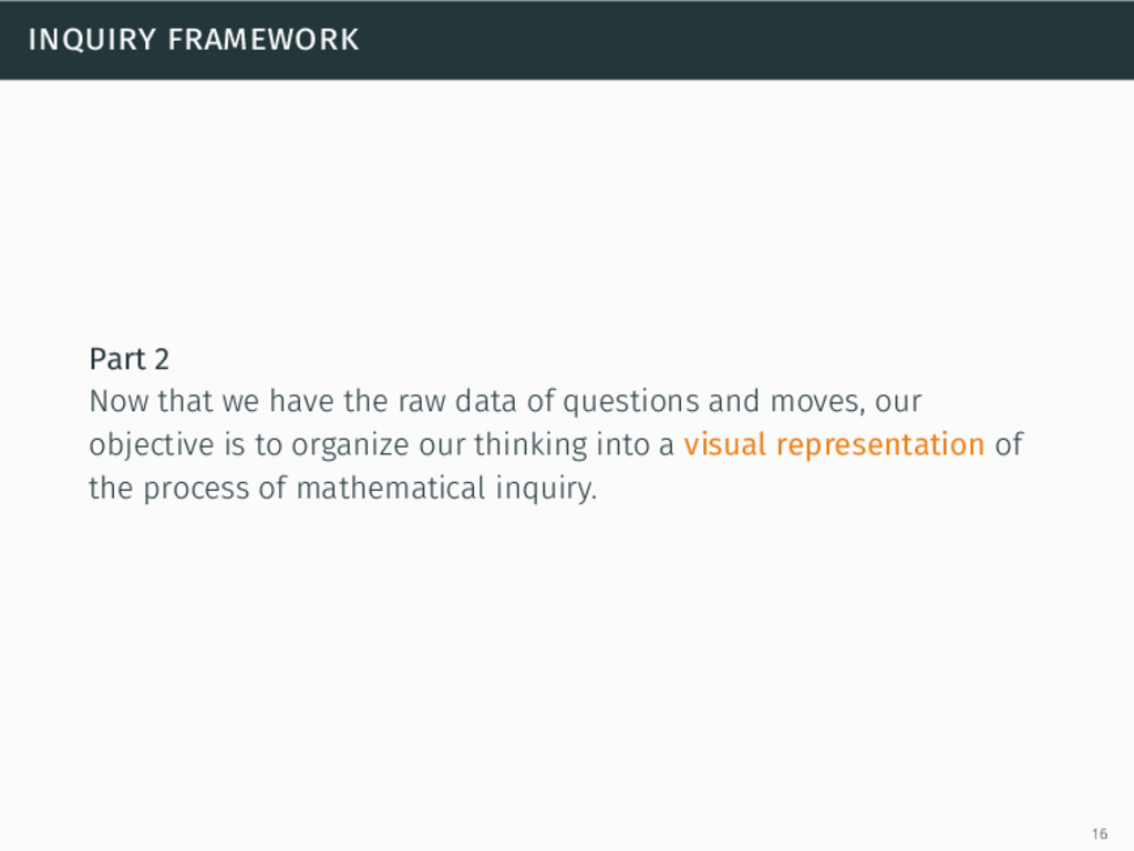 inquiry framework Part 2 Now that we have the r...