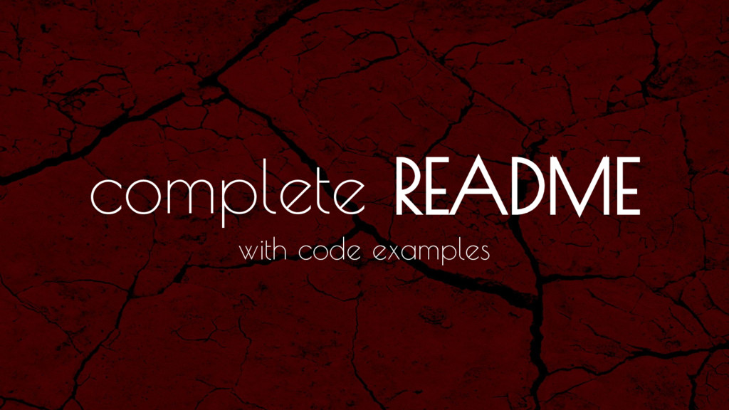 complete README with code examples