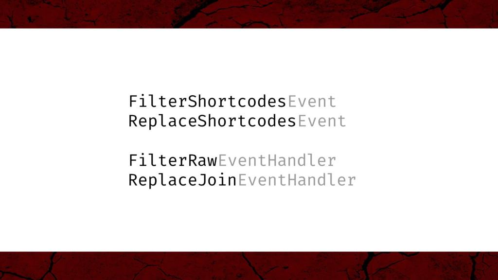 FilterShortcodesEvent ReplaceShortcodesEvent Fi...