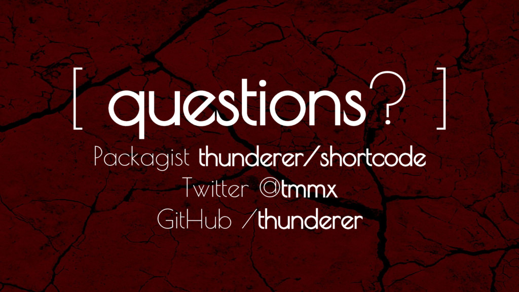 [ questions? ] Packagist thunderer/shortcode Tw...