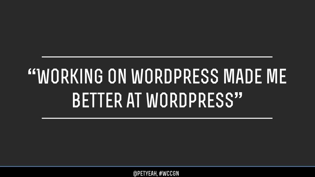 """Working on wordpress made me better at wordpre..."