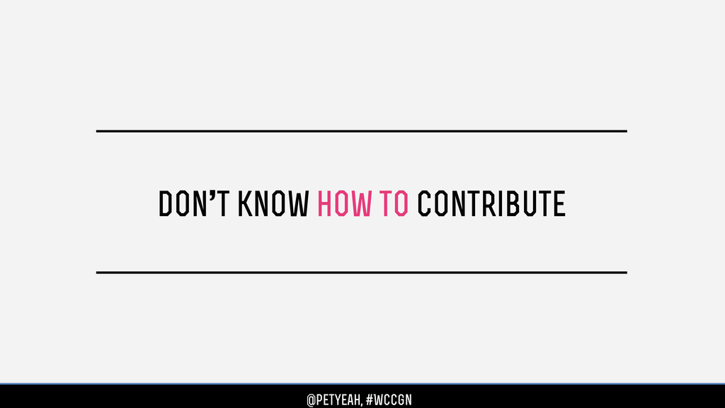 don't know how to contribute @petyeah, #WCCgn @...