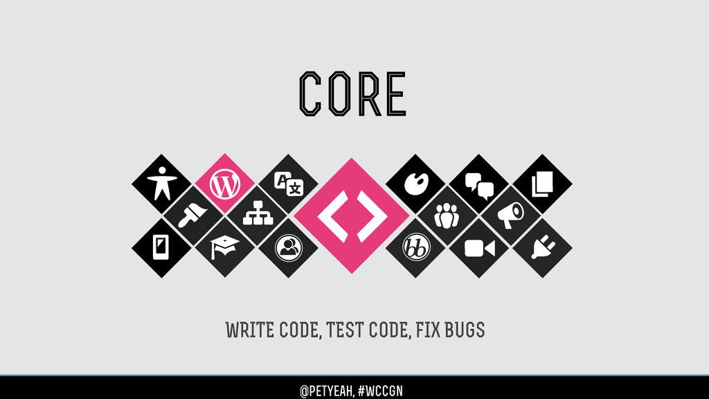 core WRITE CODE, TEST CODE, FIX BUGS @petyeah, ...