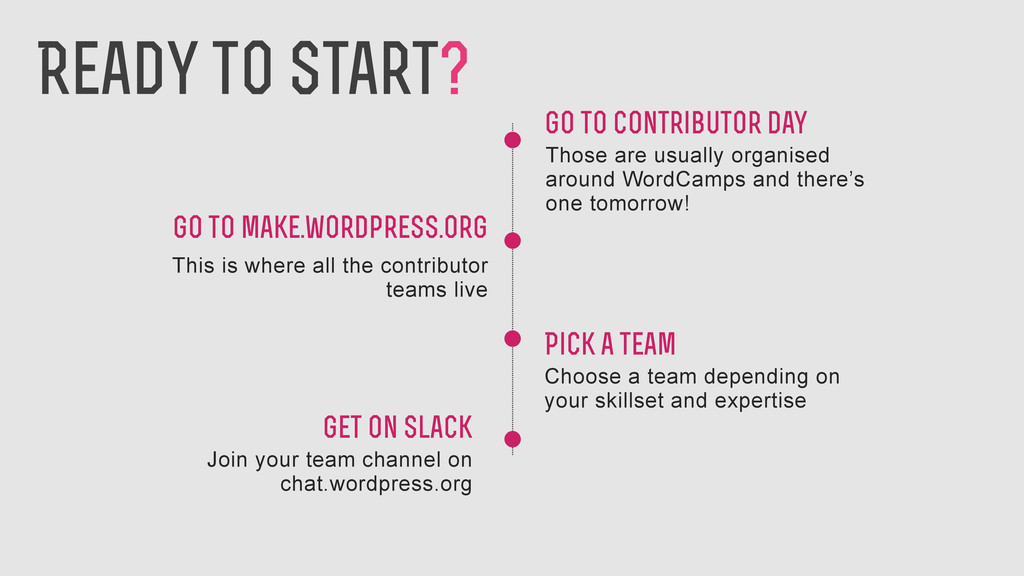 Go to make.wordpress.org This is where all the ...